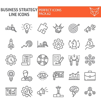 Conjunto de iconos de línea de estrategia de negocios