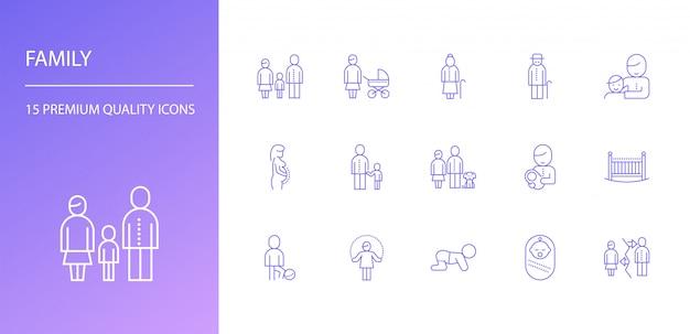 Conjunto de iconos de línea familiar