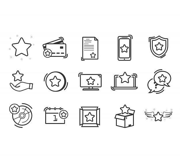 Conjunto de iconos de línea de fidelización