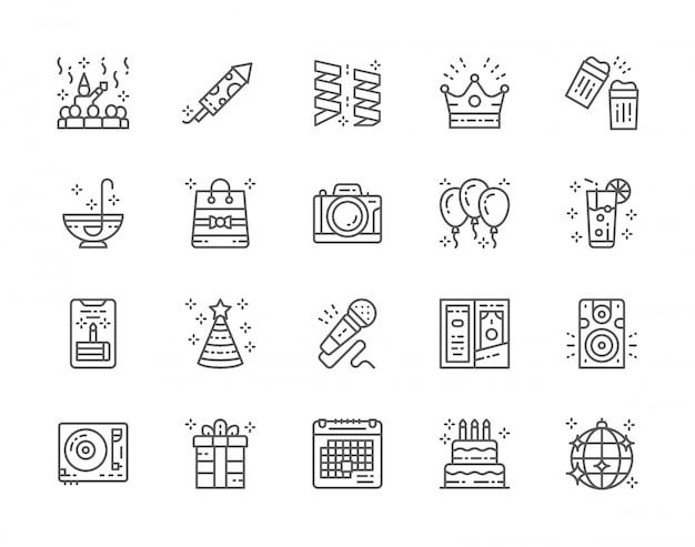 Conjunto de iconos de línea de fiesta.