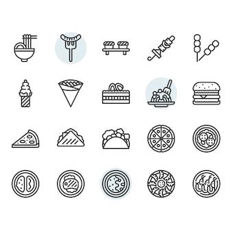 Conjunto de iconos de línea fina de comida internacional