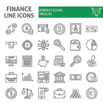 Conjunto de iconos de línea de finanzas, colección de dinero