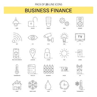 Conjunto de iconos de línea de finanzas de negocios - 25 estilo de esquema discontinuo