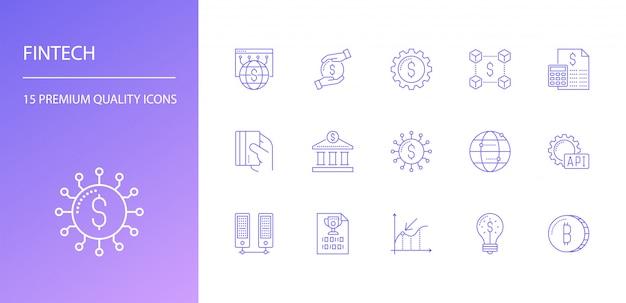 Conjunto de iconos de línea fintech