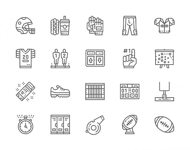 Conjunto de iconos de línea de fútbol americano. marcador del juego, comida rápida, uniforme deportivo, casco, dedo de espuma, esquema del plan, cronómetro, silbato de árbitro, trofeo de pelota y más.