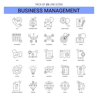 Conjunto de iconos de línea de gestión empresarial - 25 estilo de contorno discontinuo