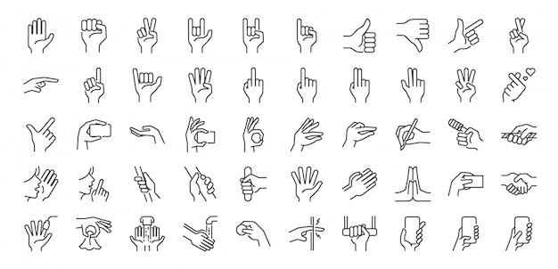 Conjunto de iconos de línea de gestos con las manos.