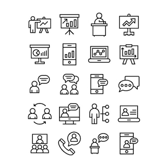 Conjunto de iconos de línea de gráfico de negocios