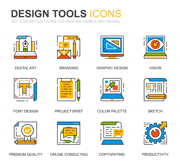 Conjunto de iconos de línea de herramientas de diseño simple para sitio web
