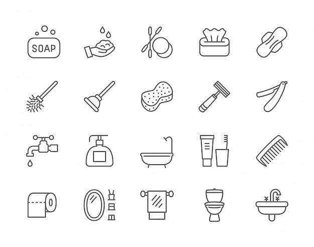 Conjunto de iconos de línea de higiene.