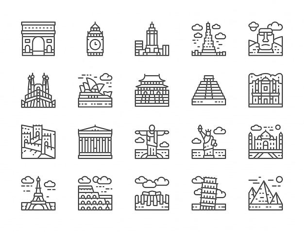 Conjunto de iconos de línea de hito mundial. egipto, italia, reino unido, francia y más.