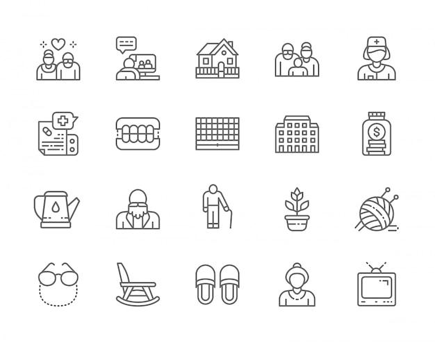 Conjunto de iconos de línea de hogar de ancianos