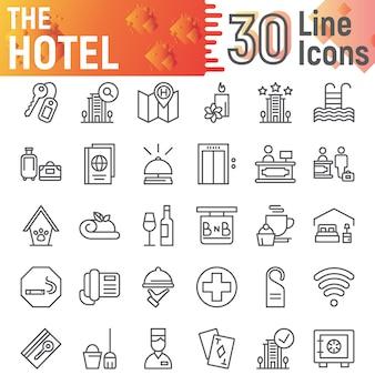 Conjunto de iconos de línea de hotel, colección de símbolos de servicio,