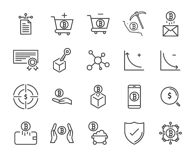 Conjunto de iconos de línea, icono de criptomoneda, colección de iconos de blockchain, ilustración vectorial