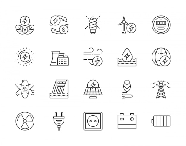 Conjunto de iconos de línea de industria energética.