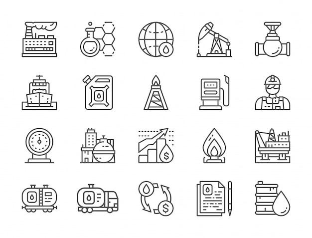 Conjunto de iconos de línea de industria petrolera. camión de combustible, ingeniero, fábrica y más.