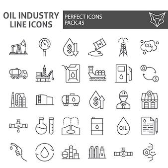 Conjunto de iconos de línea de industria petrolera