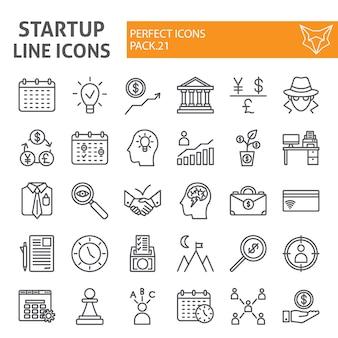 Conjunto de iconos de línea de inicio, colección de finanzas