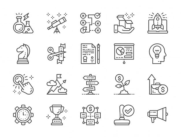 Conjunto de iconos de línea de inicio. megáfono, trofeo, estrategia, árbol de dinero y más.