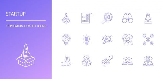 Conjunto de iconos de línea de inicio
