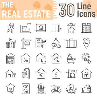 Conjunto de iconos de línea inmobiliaria, colección de símbolos de inicio
