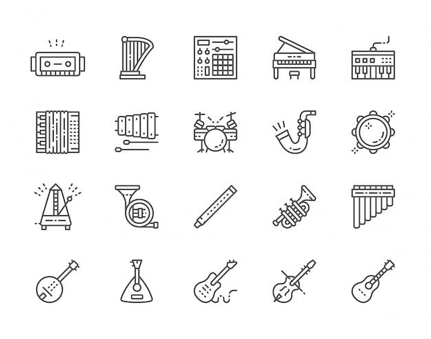 Conjunto de iconos de línea de instrumentos musicales. piano, acordeón, violín, guitarra y más.