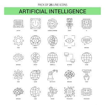 Conjunto de iconos de línea de inteligencia artificial - 25 estilo de contorno discontinuo