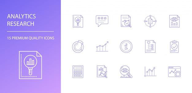 Conjunto de iconos de línea de investigación de análisis.
