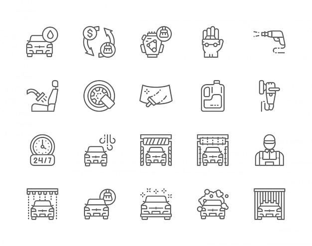 Conjunto de iconos de línea de lavado de coches.