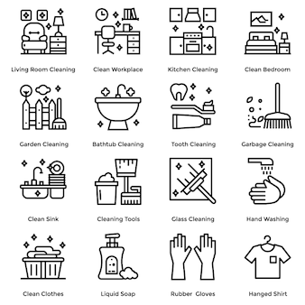 Conjunto de iconos de línea de limpieza de la casa