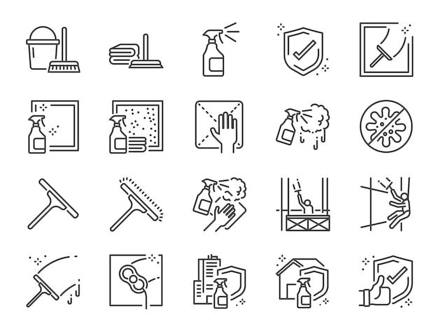 Conjunto de iconos de línea de limpieza de ventanas.