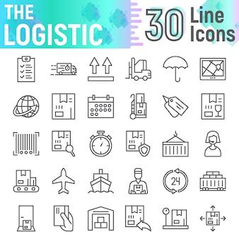Conjunto de iconos de línea logística, colección de símbolos de entrega,