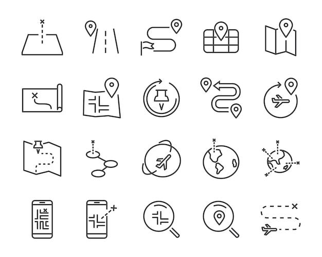 Conjunto de iconos de línea de mapa mundial