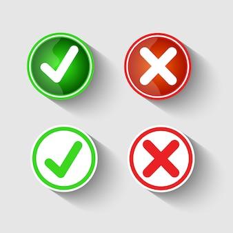 Conjunto de iconos de línea de marca de verificación premium