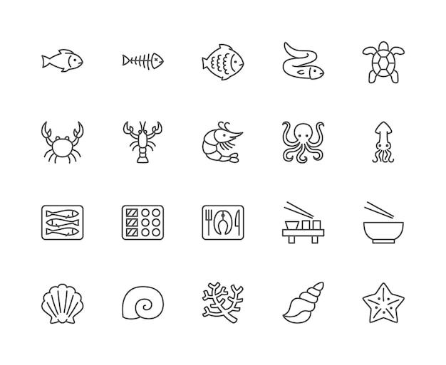 Conjunto de iconos de línea de mariscos. espina de pescado, pescado, lenguado, anguila, tortuga, cangrejo y más.