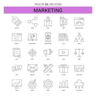 Conjunto de iconos de línea de marketing - 25 estilo de contorno discontinuo