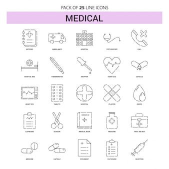 Conjunto de iconos de línea médica - 25 estilo de contorno discontinuo