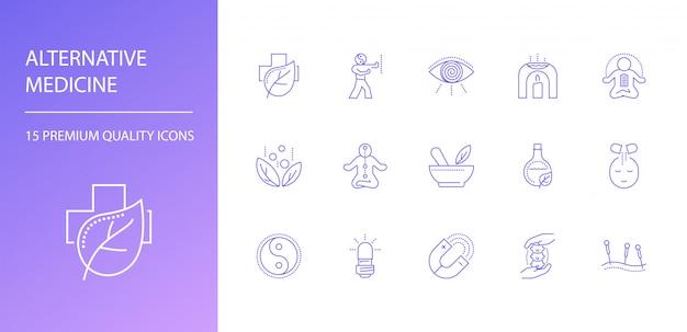 Conjunto de iconos de línea de medicina alternativa.