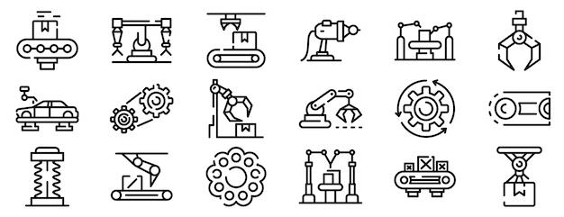 Conjunto de iconos de línea de montaje, estilo de contorno