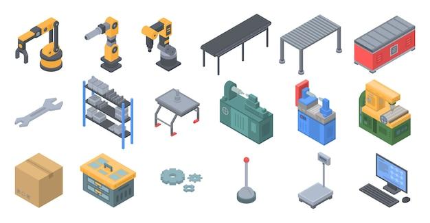 Conjunto de iconos de línea de montaje, estilo isométrico.
