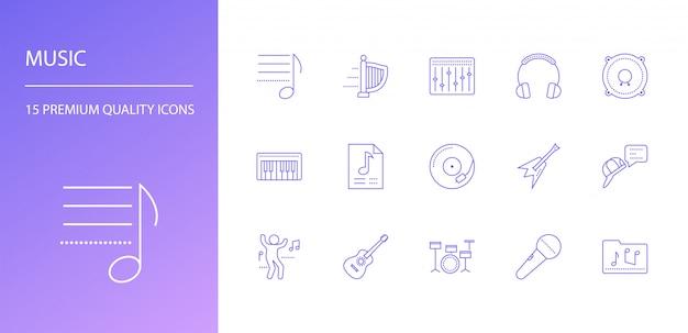 Conjunto de iconos de línea de música