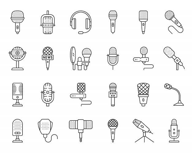 Conjunto de iconos de línea negra de micrófono, periodista, música, voz, cantante, difusión simple señal de micrófono.