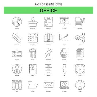 Conjunto de iconos de línea de oficina - 25 estilo de contorno discontinuo