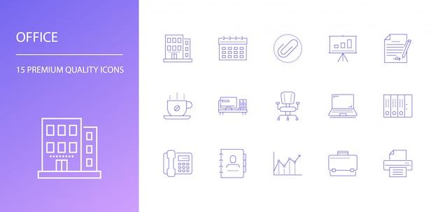 Conjunto de iconos de línea de oficina