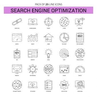 Conjunto de iconos de línea de optimización de motor de búsqueda - 25 estilo de esquema discontinuo