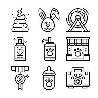 Conjunto de iconos de línea petshop.
