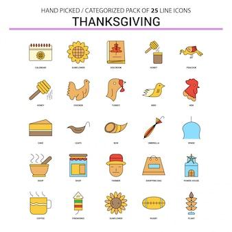 Conjunto de iconos de línea plana de acción de gracias