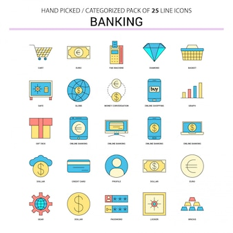 Conjunto de iconos de línea plana de banca