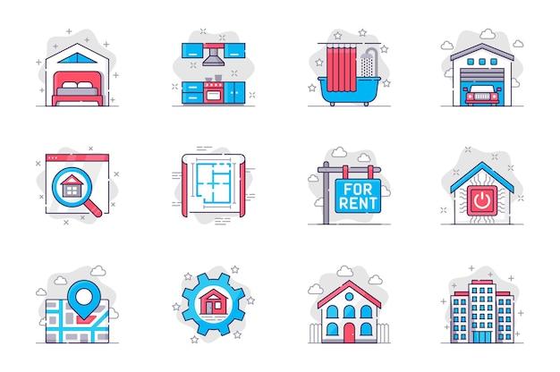 Conjunto de iconos de línea plana de concepto de bienes raíces comprar o alquilar una casa o apartamento para aplicaciones móviles
