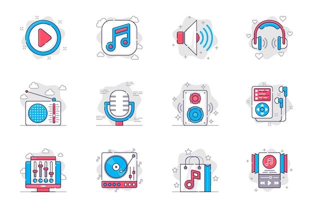 Conjunto de iconos de línea plana de concepto de estación de radio y música. equipo musical de radiodifusión para aplicaciones móviles.